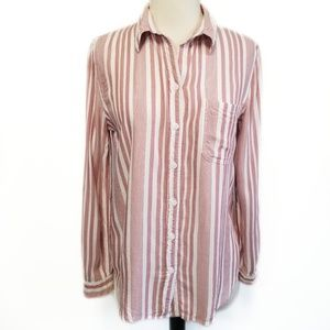 BEACH LUNCH LOUNGE Red Striped Button Front Top XS
